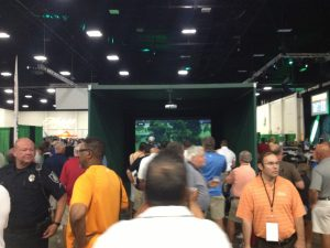 Crowd in front residential Simulator booth at championships.